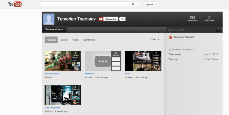 Tamerlan Tsarnaev YouTube Channel